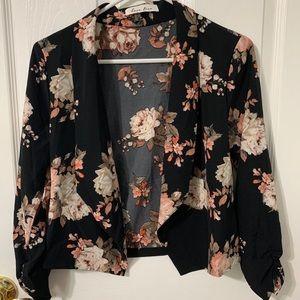 Black Floral Lightweight Blazer